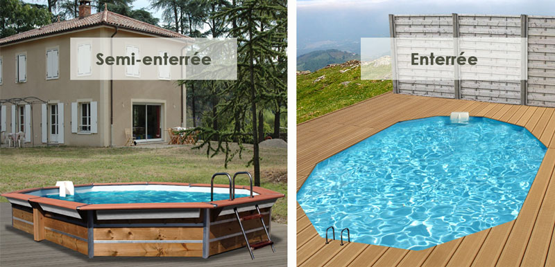 Piscine bois carr e waterclip egine 370x370x147 cm for Piscine semi enterree bois hexagonale